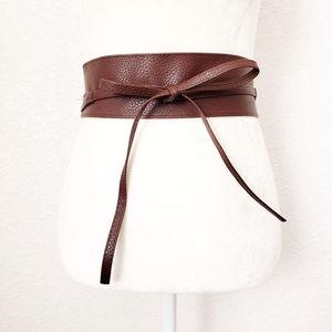 Brown Wide Pu/Faux Leather Obi Wrap Tie Waist Belt